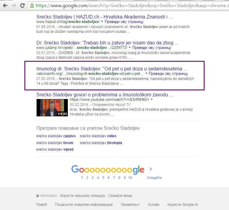 Srećko Sladoljev 1. strana 8. mesto prve strane Google-a od 7.780 rezultata