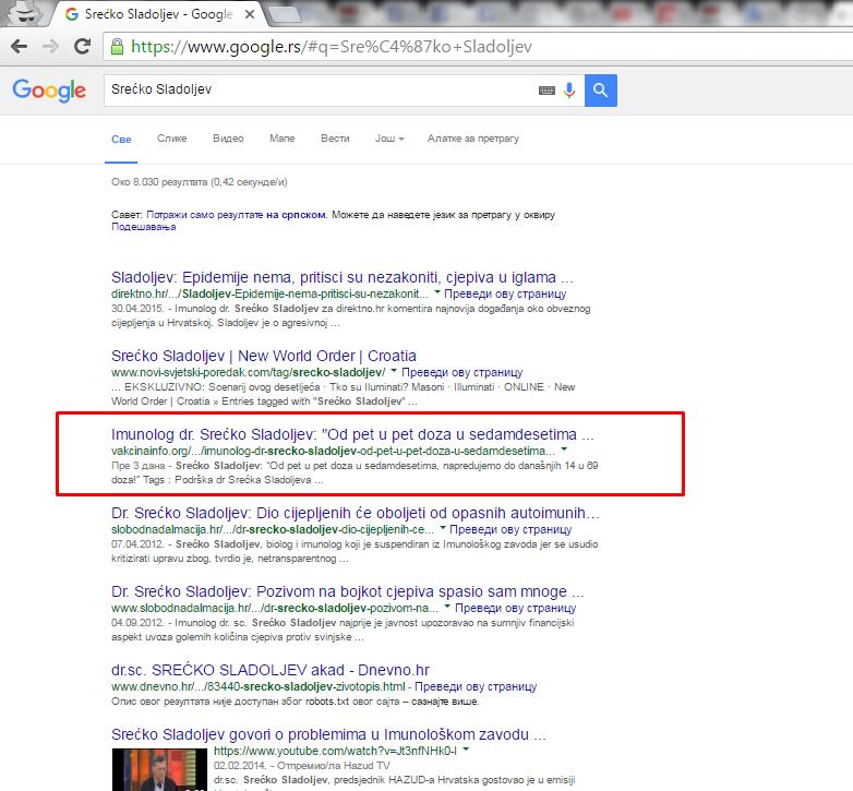 VAKCINAINFO.ORG - Ključna reč Srećko Sladoljev - PRVA STRANA Google-a, 3. mesto od 8.030 rezultata pretrage za samo 48 sati