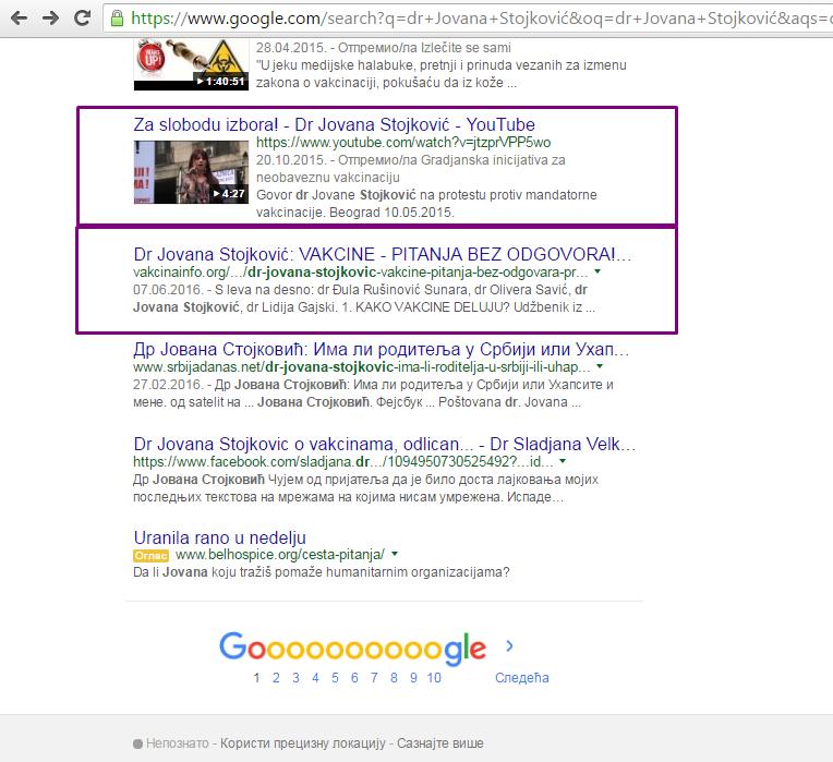dr Jovana Stojković - 1. strana Google-a 6. i 7. mesto na 1. strani od 98.000 rezultata - 20% prve strane ili 1 petina