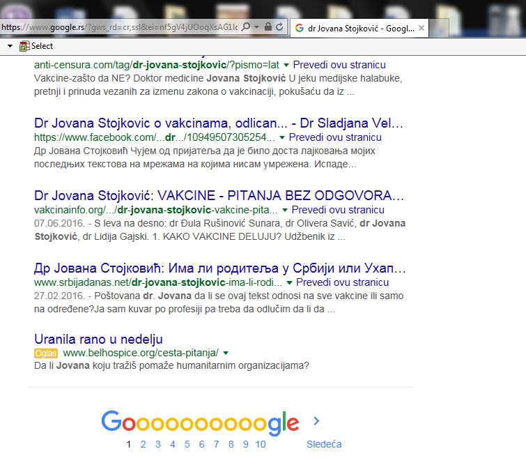 dr Jovana Stojković - 1. strana Google-a 9. mesto na 1. strani od 98.000 rezultata